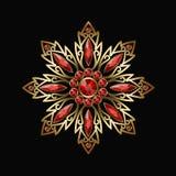 Joia do vintage com joias vermelhas Fotos de Stock Royalty Free