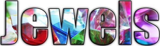 Joia Logo With Gems & joias dentro das letras de alta qualidade imagens de stock