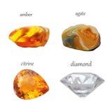A joia realística das gemas do vetor apedreja a coleção Isolado no fundo branco Imagens de Stock