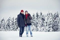 Joie d'amusement de neige de femme d'homme de couples Image libre de droits