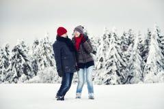 Joie d'hiver de neige de femme d'homme de couples Photographie stock libre de droits