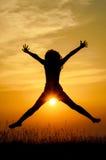 Joie dans le coucher du soleil Images libres de droits