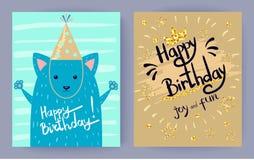 Joie de joyeux anniversaire et illustration de vecteur d'amusement illustration stock