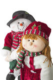 Joie de Noël de couples de bonhomme de neige d'isolement Photos libres de droits