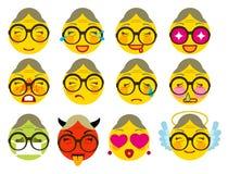 Joie réglée d'émotion d'icône de grand-mère de sourire, amour, colère, maladie, tristesse illustration de vecteur