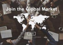 Joignez l'escroquerie globale de site Web de commerce de stratégie commerciale de vente Photographie stock