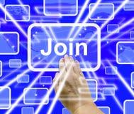 Joignez le bouton avec le rendu de l'abonnement 3d d'apparence de main photos libres de droits