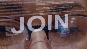 Joignez le texte sur le programmateur de logiciel femelle clips vidéos