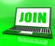 Joignez sur l'adhésion de s'inscrire d'expositions d'ordinateur portable Photo stock