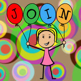 Join Balloons Shows Sign Up And Application. Join Balloons Representing Sign Up And Youths Stock Image