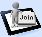 Join Button Tablet Shows Subscribing Membership Or Registration Royalty Free Stock Photography