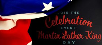 Composite image of join the celebration event martin luther king day. Join the celebration event Martin Luther King Day against american flag on empty slate stock image