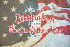Composite image of join the celebration event martin luther king day. Join the celebration event Martin Luther King Day against american flag on a wooden table stock photography