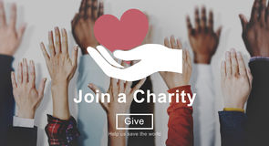 Join Charity Heart Hand Symbol Concept Stock Image