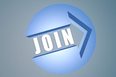 Join. 3d text render illustration concept with a arrow in a circle on blue-grey background Royalty Free Stock Images