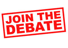 JOIN THE DEBATE. Red Rubber Stamp over a white background stock illustration