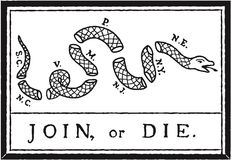 Join or Die Flag stock illustration