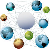 Join Earth world colors in global network. Put your logo or copy in the space at the center of a global network of worlds Royalty Free Stock Image
