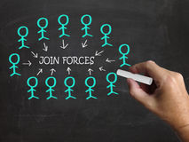 Join Forces On Blackboard Shows Armed Forces Stock Photo