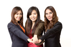 Join hands. The cooperation of the employees Royalty Free Stock Photos