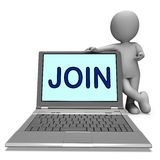 Join On Laptop Shows Enlist Membership Royalty Free Stock Image