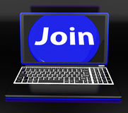 Join On Laptop Shows Subscribing Membership Or Volunteer Online Stock Photos