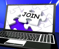 Join Laptop Shows Subscribing Registered. Join Laptop Showing Subscribing Registered Or Registration Online Stock Photography