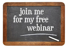 Join me for my free webinar - blackboard sign Royalty Free Stock Photos