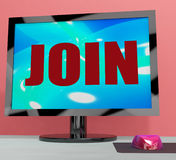 Join On Monitor Shows Registration Membership Or Volunteer Royalty Free Stock Image