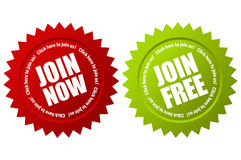 Join now. Vector join now labels set Royalty Free Stock Photos