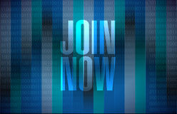 Join Now binary background sign concept Stock Image