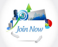 Join Now business graphs sign concept Stock Photo