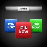 Join now button collection Royalty Free Stock Images