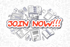 Join Now - Cartoon Red Inscription. Business Concept. Stock Photography
