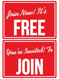 Join Now Free membership invitation signs Stock Photos