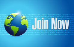 Join Now international binary sign concept Stock Photos