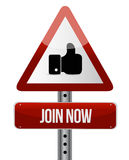 Join Now like attention sign concept Stock Photo