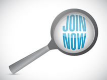 Join Now magnify glass sign concept Stock Photography