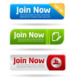 Join now modern minimal button collection Royalty Free Stock Photo