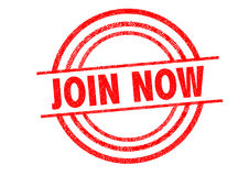 JOIN NOW Rubber Stamp Stock Photo