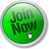 Join now web button. Glossy icon of  illustration on isolated white background Royalty Free Stock Image