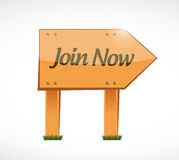 Join Now wood sign concept illustration design Stock Images