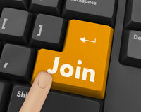 Join. Online communities concept, with join on computer keyboard key Royalty Free Stock Image
