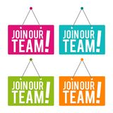 Join our Team hanging Door Sign. Eps10 Vector. Stock Photo