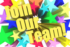 Join Our Team motto. Golden text with vivid stars Royalty Free Stock Photo