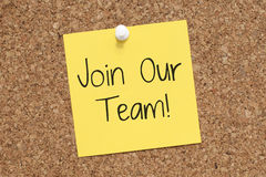 Join Our Team. Note on corkboard Stock Images
