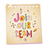 Join our team notepad paper message Stock Photo