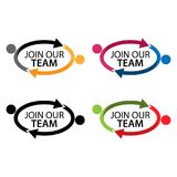 Join our team with people icon. Flat vector illustration on white background. Royalty Free Stock Image