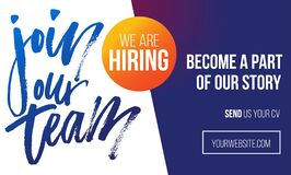Free Join Our Team Recruitment Design Poster. We Are Hiring Banner Or Poster Template Stock Photo - 187792100