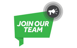 Join our team vector illustration badge with megaphone Stock Photos